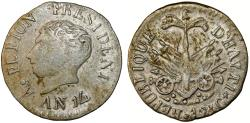 World Coins - HAITI, République d'Haïti (Western). Alexandre Petion as President (1806-1818) AR 12 Centimes AN14 (1817). about VF.