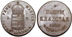 "World Coins - Hungary. Franzc I Josef (1848-1916). ""War of Independence Coinage"" Harom (3) Krajczar 1849 NB. AU"