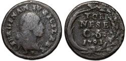 World Coins - Italy. Kingdom of Naples. Ferdinand IV Bourbon (1759-1799). AE Tornese of 6 Cavalli 1791. VG+