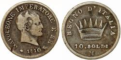 World Coins - Imperial France. Italian Kingdom of Napoleon Bonaparte (1804-1814). Silver 10 Soldi 1810 M. About VF
