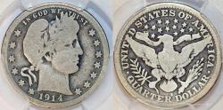 Us Coins - USA. Barber Quarter 1914- S. PCGS G04.