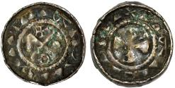 """World Coins - Medieval Saxony. Coinage tied to Poland. Period of Mieszko II (1025-34) or Casmir I """"the Restorer"""". Silver Denar ND. XF."""