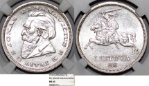 World Coins - Lithuania. Republic. Silver 5 Litai 1936. NGC MS63