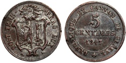 World Coins - Swiss Cantons. City of Geneva. 5 Centimes 1847. XF