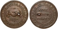 World Coins - Great Britain. Warwickshire. Birmingham, Union Copper Company, Copper Penny Token 1812. VF