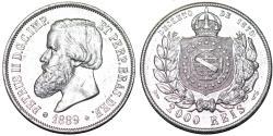 World Coins - Brazil. Pedro II (1831-1889). Silver 2,000 Reis 1889 R. AU details