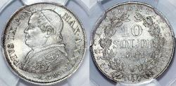 World Coins - Italy. Vatican. Pope Pius IX (1846-1878). Silver 10 Soldi 1867 R. PCGS MS64