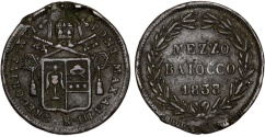 World Coins - Italy. Papal States. Rome. Gregory XVI. CU Mezzo Baiocco 1838. VF