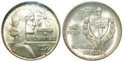 """World Coins - Cuba. Republic. Silver 1 """"ABC"""" Peso 1938. ANACS  MS62"""