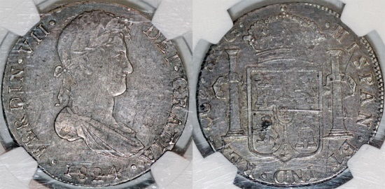 World Coins - Spanish Colony. Peru. Rare Cuzco mint. Charles IV. Silver 2 Reales 1824 G. NGC XF40 RARE!