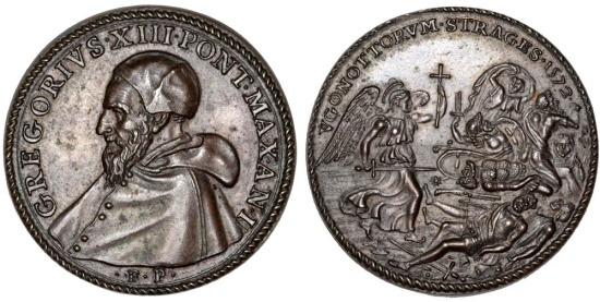"World Coins - Italian Papal States: Pope Gregorius XIII - Ugo Boncompagni (1572-1585) AE Medal ""the massacre of the Huguenots"" 1572 (AN I). AU+"