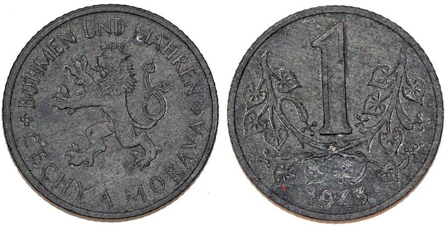 World Coins - German Protectorate of III Reich. Bohemia and Moravia. Zinc 1 Koruna 1943. AU