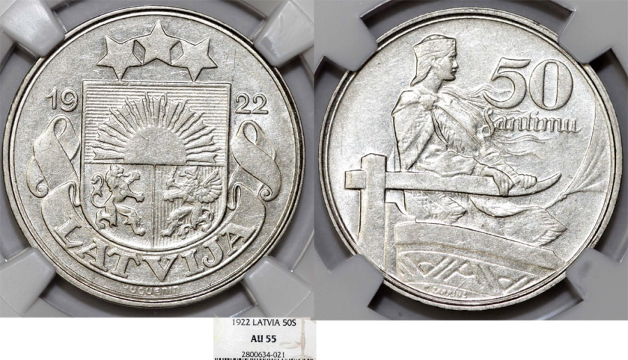 World Coins - Latvia (ex Livonia). Republic (1918-1940) AR 50 Senti 1922. NGC AU55