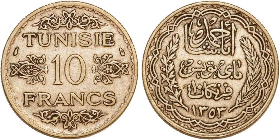 World Coins - Tunisia. Ahmad Pasha Bey. Very Nice Silver 10 Francs AH1253 (AD1934). Choice AU