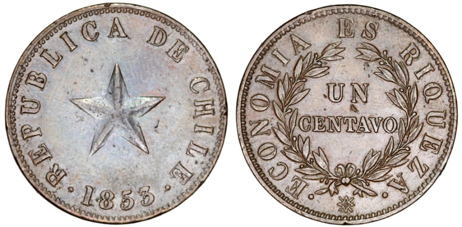 World Coins - Chile. CU 1 Centavo 1853. AU/AU+