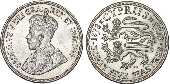 World Coins - British Colony. Cyprus. King George V. Silver 45 Piastres 1925. Choice AU