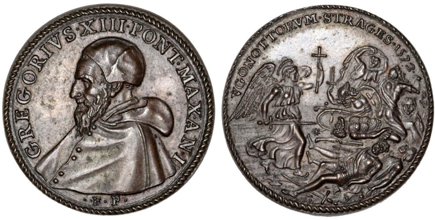 "World Coins - Italian Papal States: Pope Gregorius XIII - Ugo Boncompagni (1572-1585) AE Medal ""the massacre of the Huguenots"" 1572 (AN I). AU+"