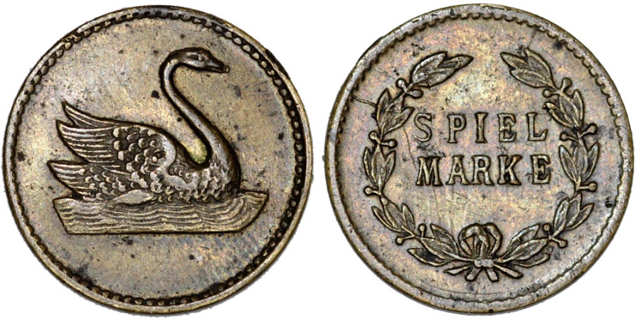 """World Coins - Germany. Emergency Coins of WWI. Imperial Spiel Marke """"Swan"""". XF"""