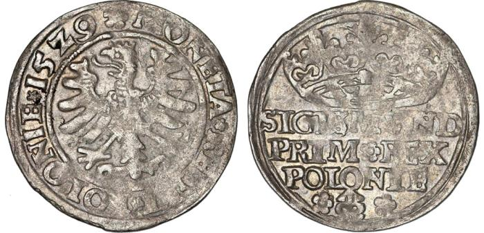 "World Coins - Poland. King Sigismund I ""Old"" (1506-1548). AR Groschen 1529. Nice VF"