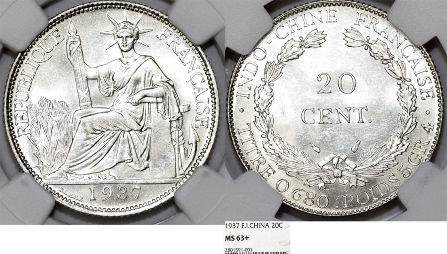 World Coins - French Indo-China. Colonial Issue. Silver 20 Cents 1937. NGC MS63+