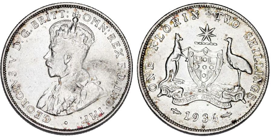 World Coins - British Commonwealth: Australia. Silver Florin (2 Shillings) 1936. XF