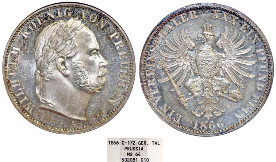 World Coins - Germany. Prussia. Wilhelm I (1861-1888) AR Thaler 1868 A. NGC MS62, toned