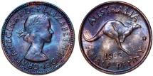 World Coins - Australia. Commonwealth. Elizabeth II CU 1/2 Penny 1963. UNC