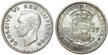 World Coins - South Africa. George VI. AR 2 1/2 Shillings 1937. Toned Choice VF