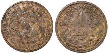 World Coins - Kingdom of Netherlands. Queen Wilhelmina. AE 1 Cent 1924. VF+, key date