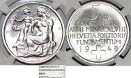 "World Coins - Switzerland. Republic. Beautiful AR 5 Francs 1948 ""Swiss Constitution Centennial"" NGC MS64"