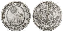 World Coins - Bolivia. CU-NI 5 Centavos 1897. VF+