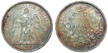 World Coins - France. II Republic. Silver 5 France 1873 A. Choice VF