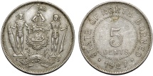 World Coins - British North Borneo. George V. CuNi 5 Cents 1927H. XF
