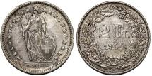 World Coins - Switzerland. Federation. AR 2 Francs 1944B. Nicely toned XF/AU