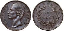 World Coins - Sarawak (North-West Borneo). Charles J. Brooke Rajah. AE Cent 1891 H. XF