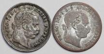 World Coins - Austria: Lot of 2 Coins: Silver 10 Kreuzer 1870;1872.. Fine+-XF