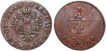 World Coins - Austria. H.R.E. Emperor Franz II. CU 1/4 Kreuzer 1800A. XF