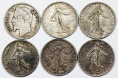 World Coins - France. III Republic. Lot of 5 Silver Coins: 6 Franc 1867-1919. Fine-AU