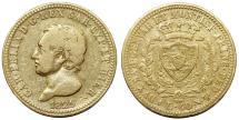 World Coins - Italy. Sardinia. Carlo Felice (1821-31). Gold  40-Lire 1825 L. Fine+