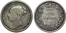 World Coins - Great Britain. Victoria. AR 6 Pence 1882. Fine