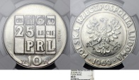"""World Coins - Poland. Nickel Pattern """"PROBA"""" 20 zl 1969 MW. 25 years of PRL. NGC MS64"""