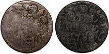 World Coins -  Netherlands. Gelderland. AE Duit 1788. VG