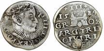World Coins - Poland. (Livonia) Riga. Sigismund III (1587-1632). RARE Silver 3 Gross - Trojak 1589. scarce date