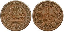 World Coins - Germany. United Nassau. Adolph. CU 1 Kreuzer 1861. VF+