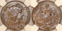 World Coins - France. Republic. BRZ 10 Centimes Marianne 1907. NGC MS63 BN!