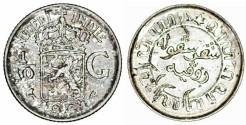 World Coins - Netherlands East Indies. AR 1/10 Gulden 1941. AU.