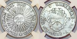 World Coins - ARGENTINA. Provincias del Rio de la Plata. Silver 8 Reales 1835 RA P. La Rioja. NGC VF25