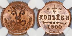 World Coins - Russia. Nicolas II. CU 1/4 Kopeck 1900 CNB. NGC MS64 RB