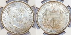 World Coins - CUBA. Medallic Coinage. AR Souvenir Peso 1897. Close date. NGC MS63