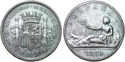 World Coins - Spain. Provincial (1869-1871). Silver 5 Pesetas 1870 M. about VF